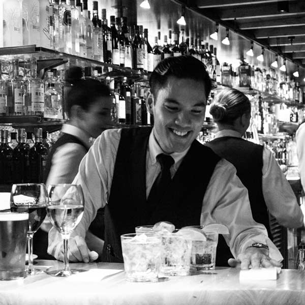 bartender readying cocktails