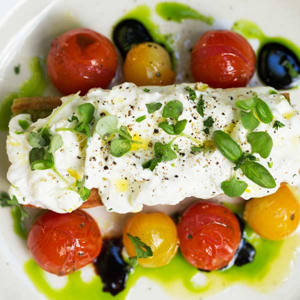 burrata with wood-roasted tomatoes